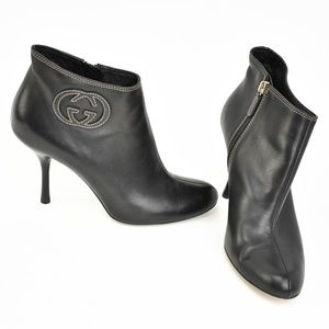 "GUCCI: Black, Leather & ""GG"" Logo, Ankle Boots"